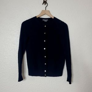 Vince Wool & Cashmere Button Up Black Cardigan